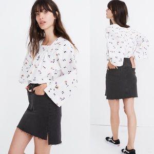 NEW Madewell Straight Mini Step-Hem Denim Skirt 28